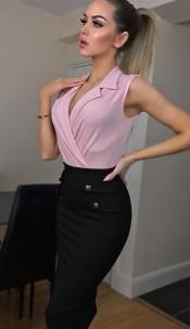 Joanna Front Button Detail Skirt Black