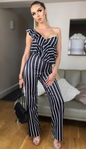 Carys Striped Frill Jumpsuit Black