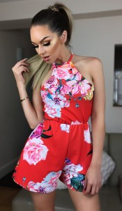 Camila Floral Detail Playsuit Red