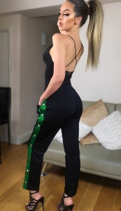 Mimi Side Button Trousers Jade