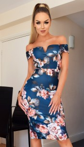 Nikita Floral Bardot Dress Teal