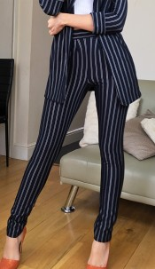 Louise Striped Trousers Navy