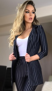 Rosalind Striped Blazer Jacket Navy