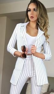 Rosalind Striped Blazer Jacket Ivory
