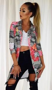 Marcella Floral Camo Longline Jackets Khaki