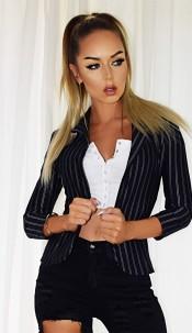 Jessica Alba Celebrity Inspired Blazer Jacket Navy