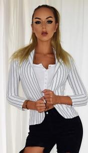 Jessica Alba Celebrity Inspired Blazer Jacket Ivory
