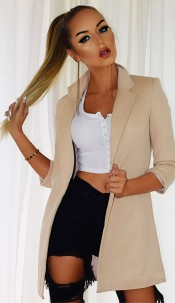 Fleur Pocket Illusion Blazer Jacket Stone