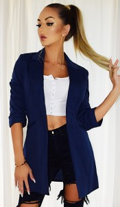 Fleur Pocket Illusion Blazer Jacket Navy
