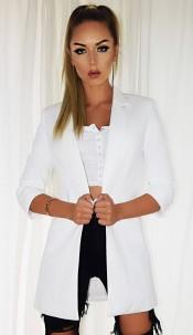 Fleur Pocket Illusion Blazer Jacket Ivory