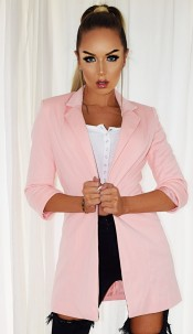 Fleur Pocket Illusion Blazer Jacket Nude