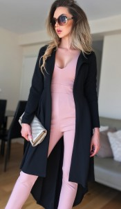 Natalie Dip Hem Duster Coat Black