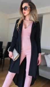 Natalie Dip Hem Duster Coat Black