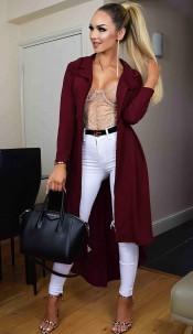 Natalie Dip Hem Duster Coat Wine