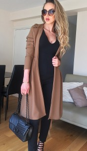 Natalie Dip Hem Duster Coat Brown