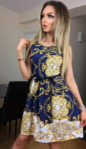 Candice Paisley Skater Dress Navy