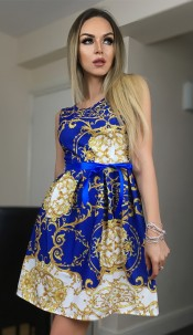 Candice Paisley Skater Dress Royal blue