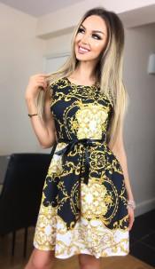 Candice Paisley Skater Dress Black