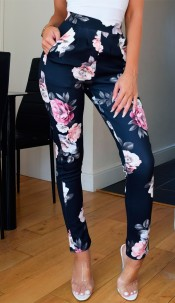 Parina Floral Trousers Black