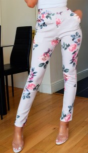 Parina Floral Trousers Grey