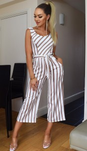 Melanie Striped Culotte Jumpsuit Ivory