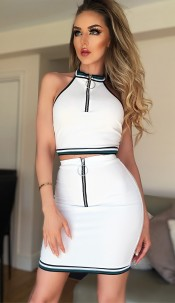 Carrie Zipper Two Piece Set Ivory