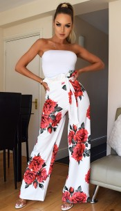 Tamsin Floral Pleated Trousers Ivory