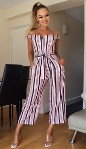 Simone Striped Culotte Jumpsuit Pink