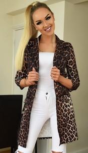 Esme Leopard Longline Jacket Brown