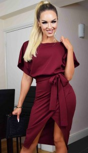 Judith Wrap Front Batwing Dress Wine