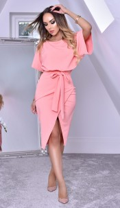 Judith Wrap Front Batwing Dress Peach