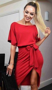 Judith Wrap Front Batwing Dress Red