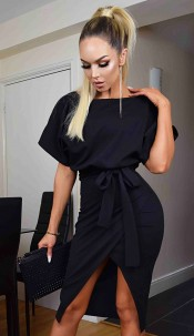 Judith Wrap Front Batwing Dress Black