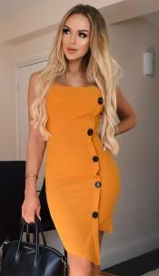 Kasia Button Detail Dress Mustard