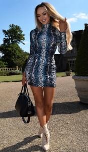 Faria High Neck Dress Blue