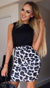 Chloe Animal Print Dress Black