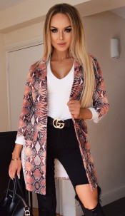 Britney Animal Longline Jacket Orange