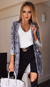 Britney Animal Longline Jacket Grey