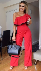 Alicia One Shoulder Jumpsuit Red