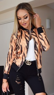 Kaya Animal Print Zip Jacket Beige