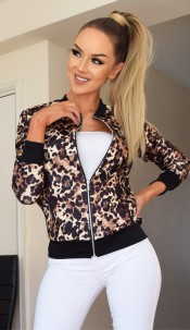 Kaya Animal Print Zip Jacket Brown