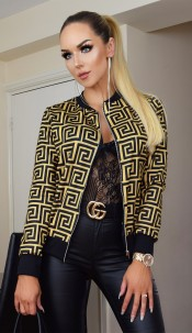 Kaya Animal Print Zip Jacket Mustard