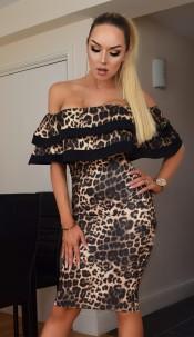 Kaira Bardot Leopard Dress Brown