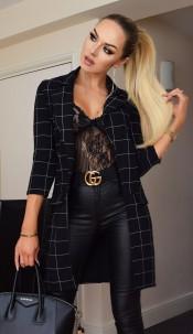 Diana Checked Longline Jacket Black