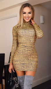Molly High Neck Dress Mustard