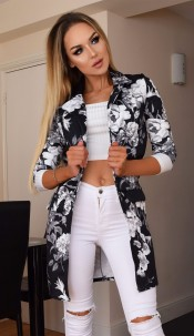 Audrey Floral Longline Jacket Black