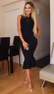 Miranda Lace Fishtail Dress Black