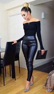 Chelsea PU Wet Look Trousers Black
