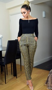 Faria Greek Print Trousers Mustard