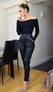 Tatianna Animal Print Trousers Black